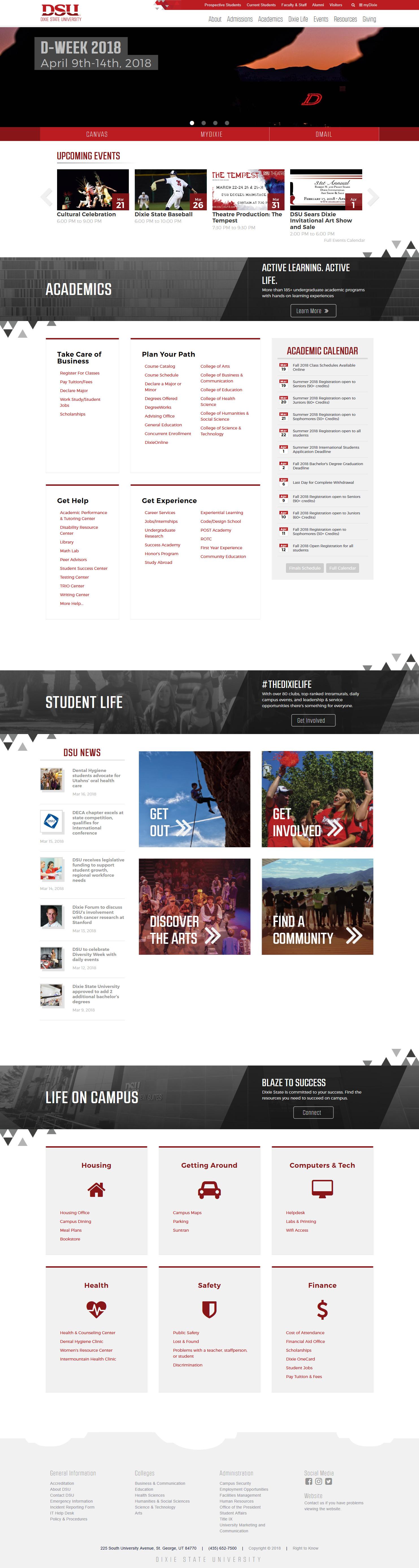 Student Portal, Desktop View