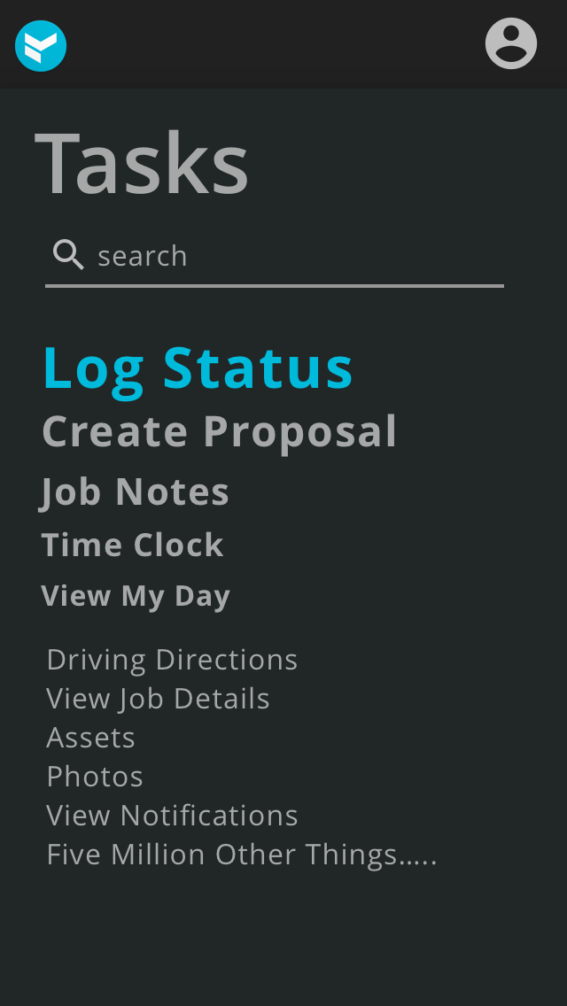 tasks weighted by usage, mobile view, v1