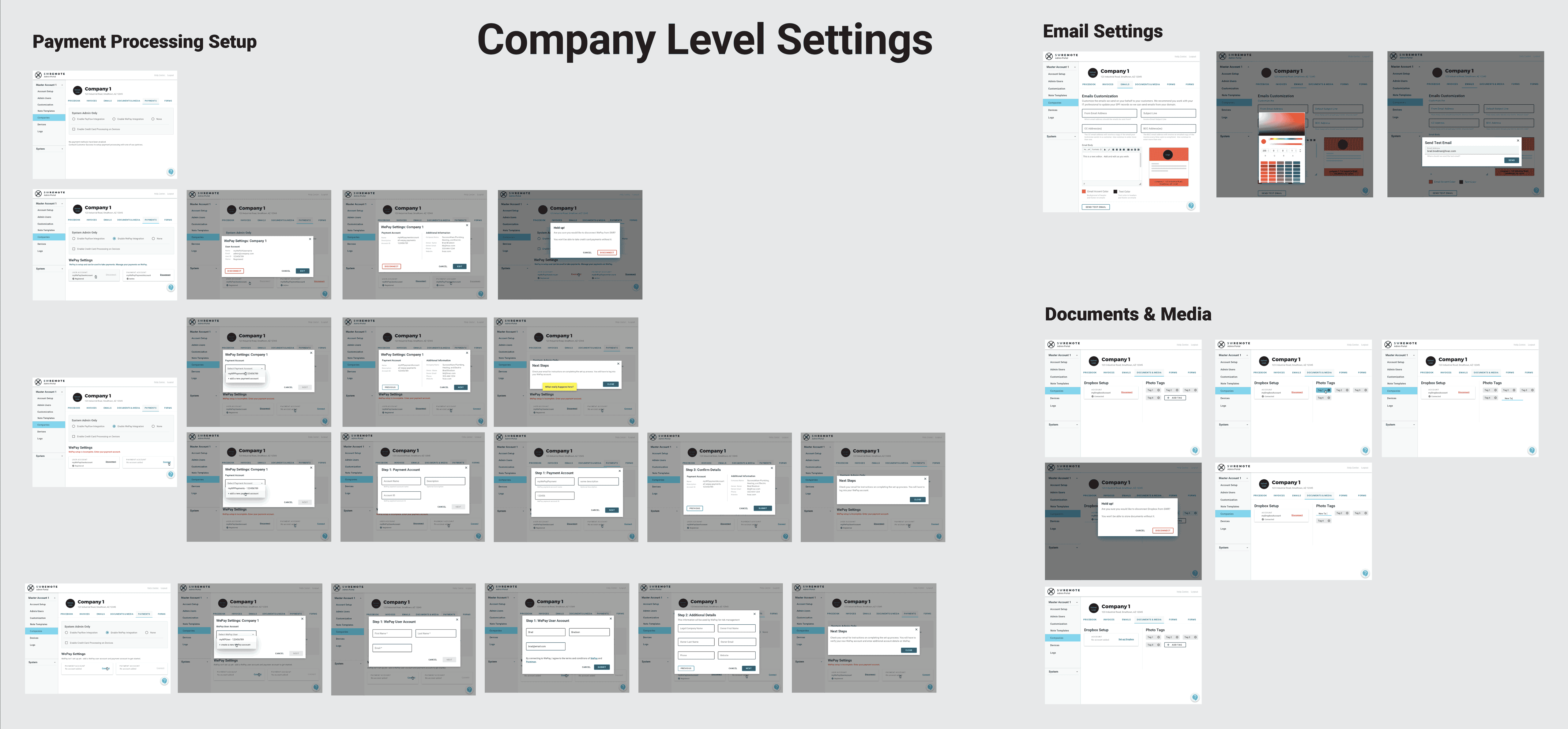 company level settings screens