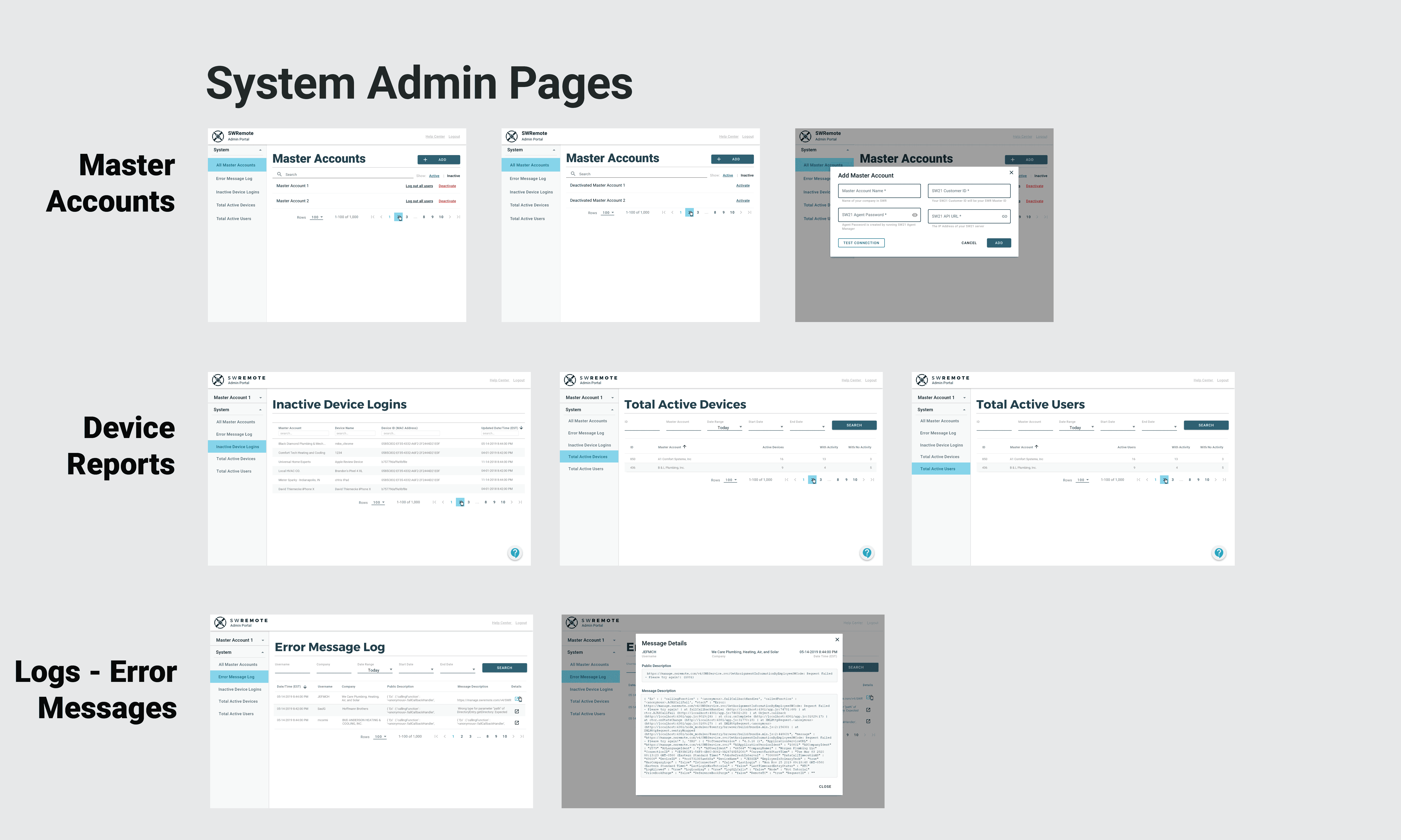 system level / administrator user screens
